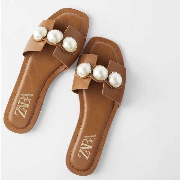 Zara Brown Slide Sandals with Pearls